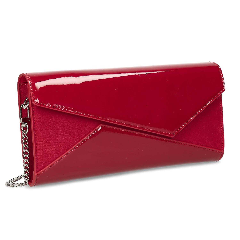 Dámska červená lesklá listová kabelka