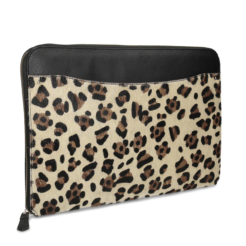 Kožené čierne púzdro s leopardím vzorom
