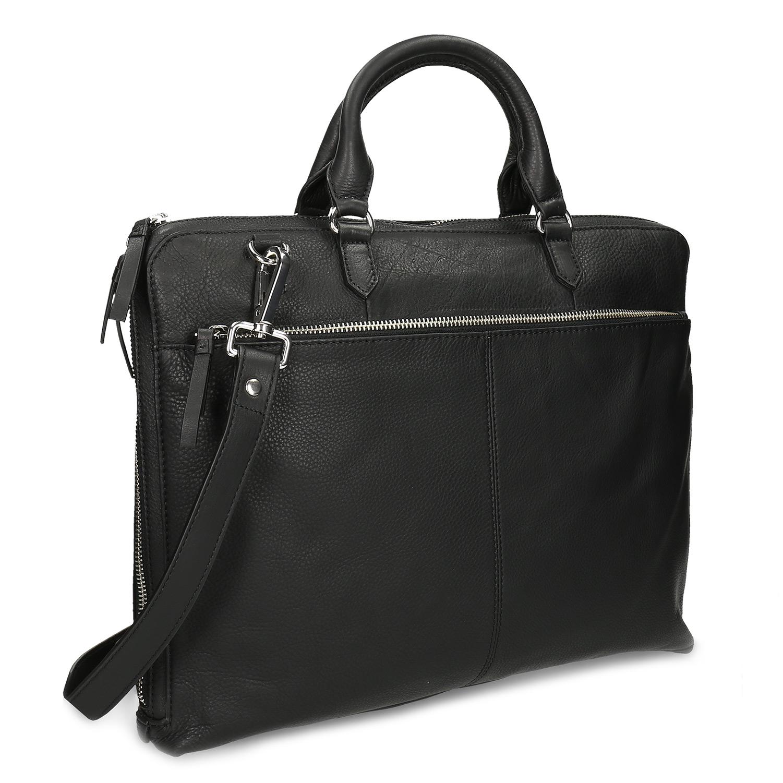 Kožená čierna dámska taška s popruhom