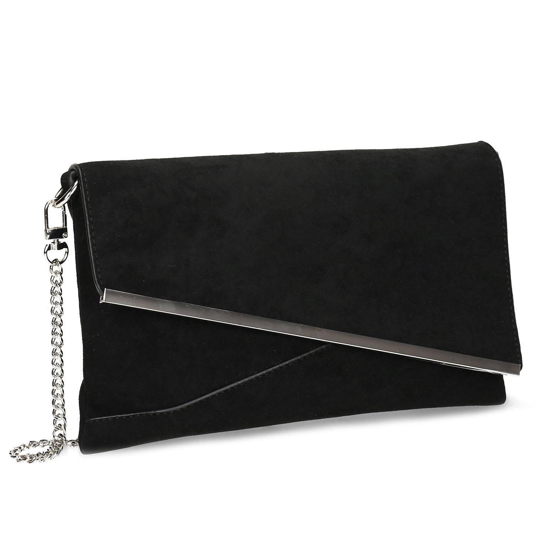 Čierna dámska listová kabelka s retiazkou
