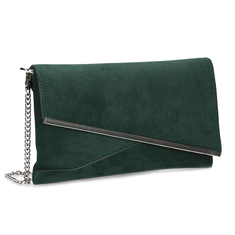 Zelená dámska listová kabelka s retiazkou