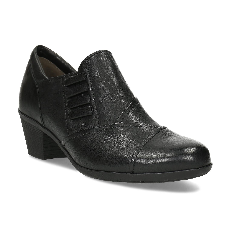 Kožená dámska čierna členková obuv