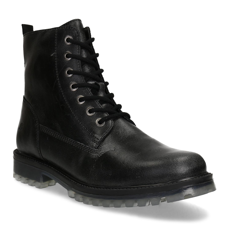 Čierna pánska členková kožená obuv