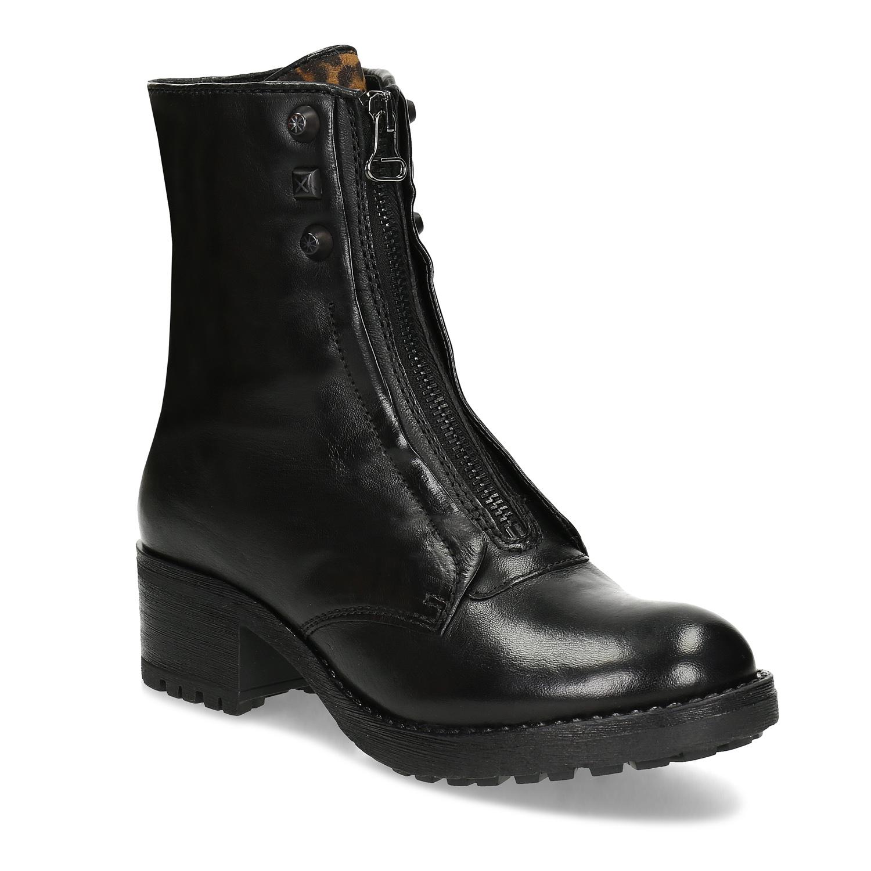 Kožené čierne dámske čižmy so zipsom