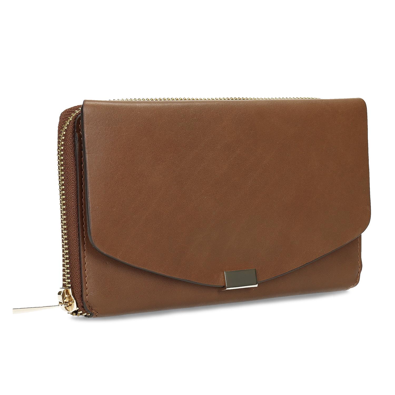 Dámska hnedá kožená peňaženka