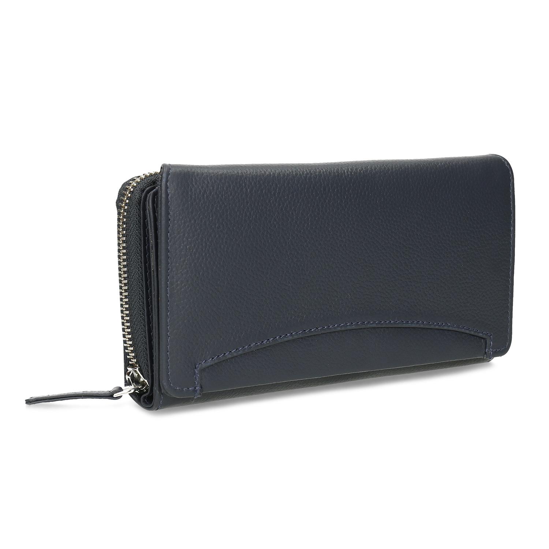 Tmavomodrá dámska kožená peňaženka