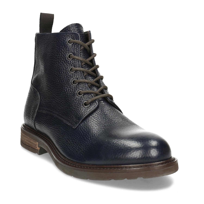 Modrá pánska kožená členková obuv