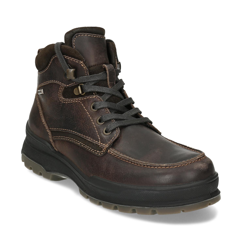 Kožená pánska hnedá zimná obuv