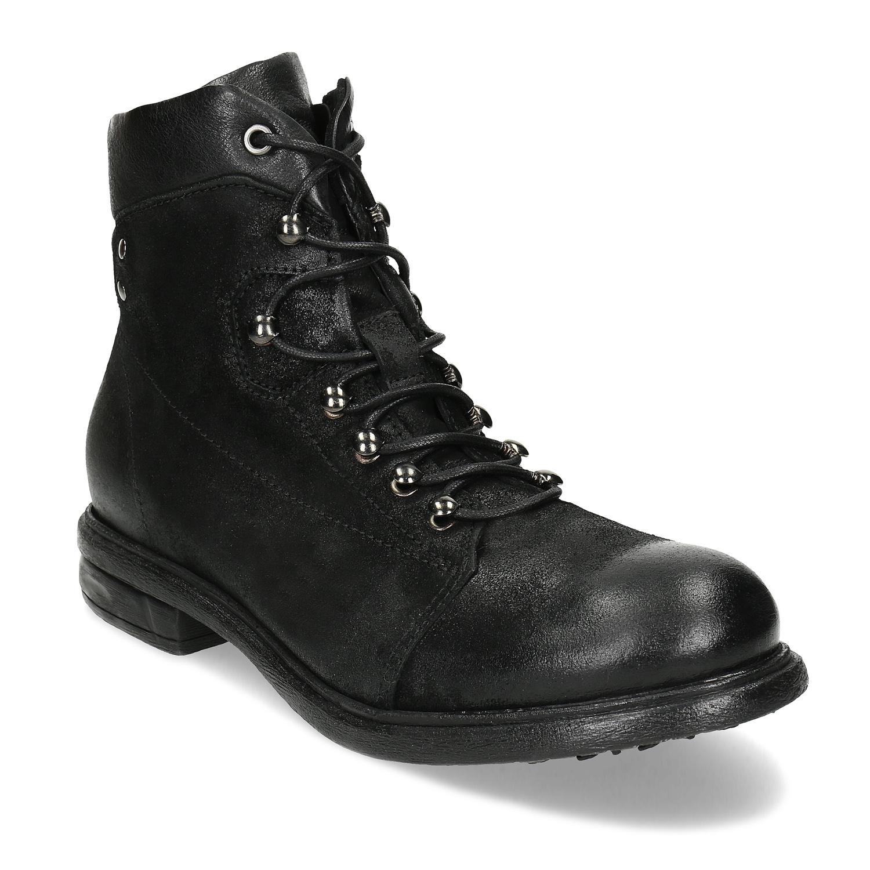 Pánska čierna členková kožená obuv