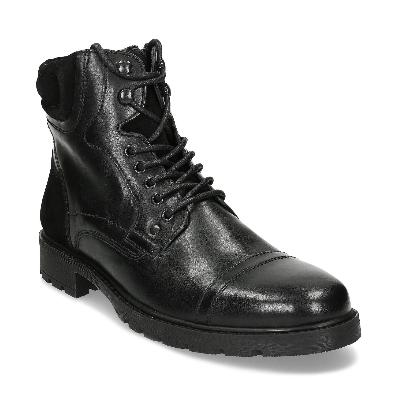 Členková pánska kožená zimná obuv