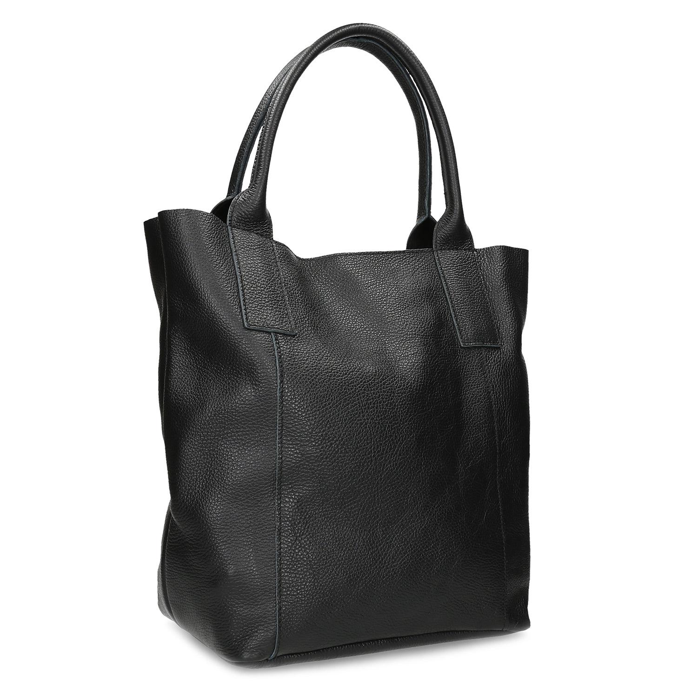 Kožená dámska čierna kabelka