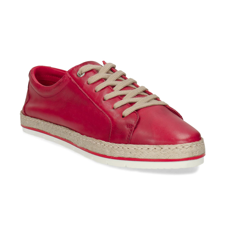 Červené dámske kožené tenisky s jutou
