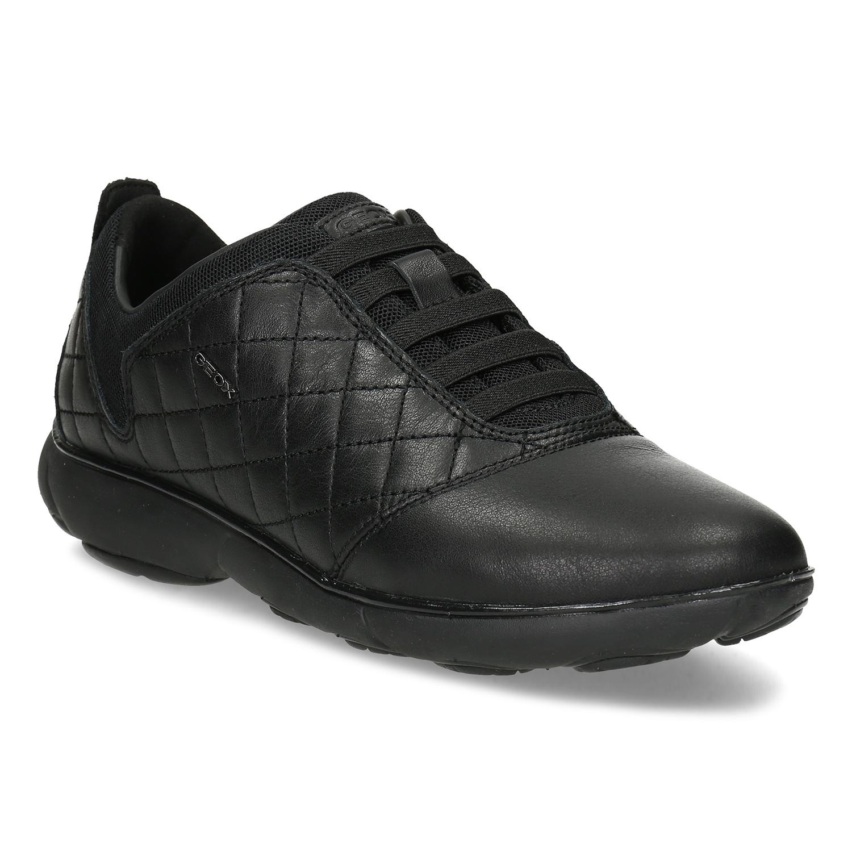 Dámske čierne kožené tenisky s prešívaním