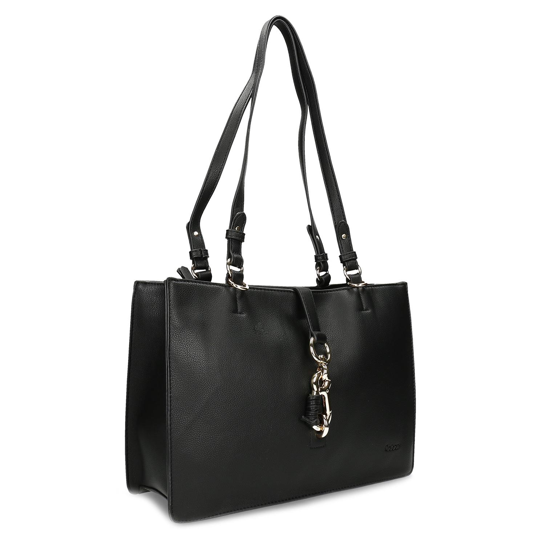 Čierna dámska kabelka s kovovou sponou