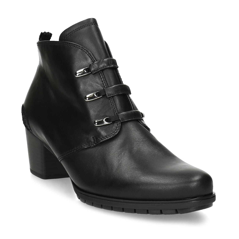Členkové dámske kožené čierne čižmy