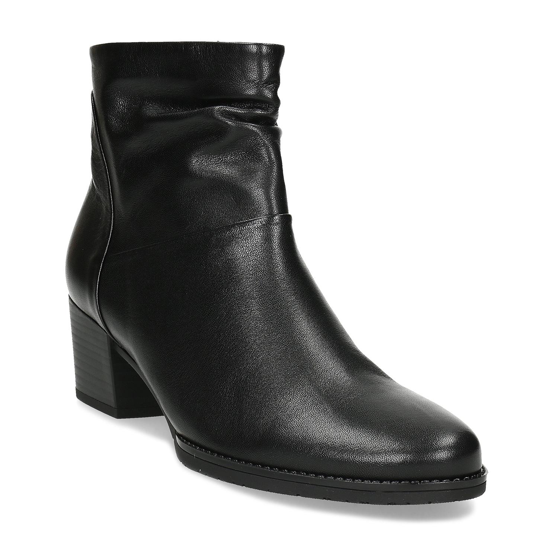 Čierne kožené čižmy na stabilnom podpätku