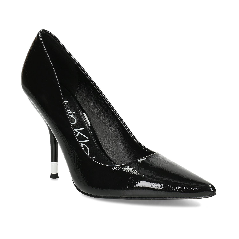 Čierne dámske kožené lesklé lodičky