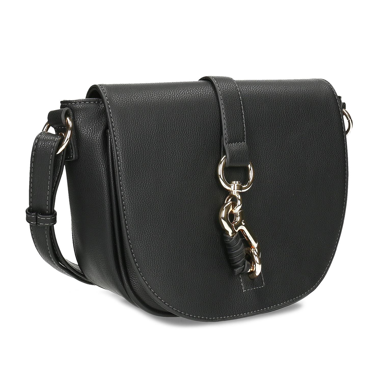 Čierna Crossbody kabelka s kovovou sponou