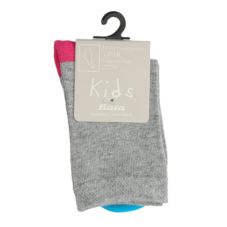 Šedé detské ponožky s farebnými detailami