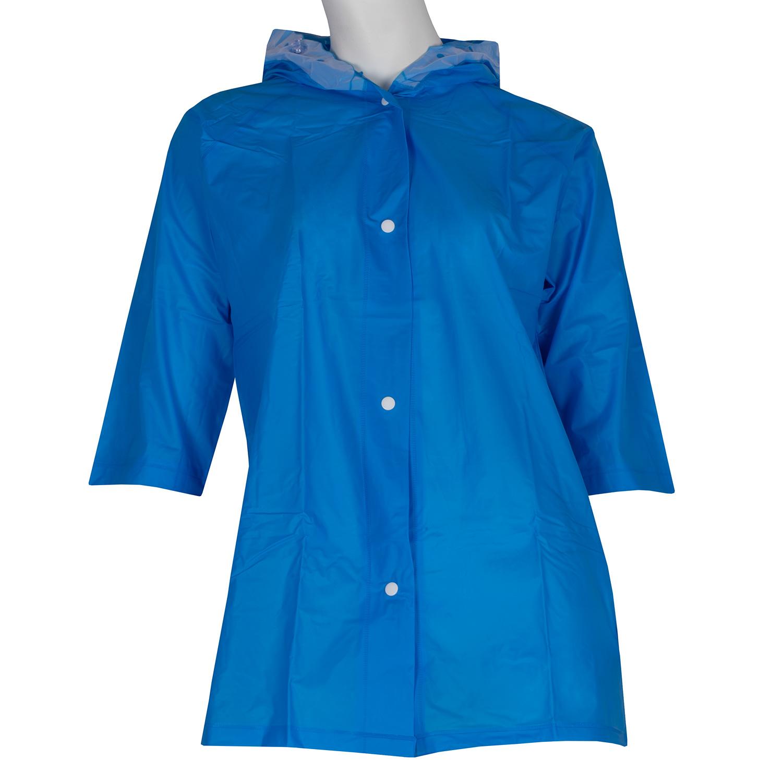 Dlhšia modrá pláštenka s kapucňou