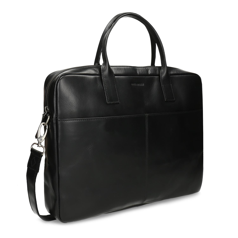Kožená čierna taška na dokumenty
