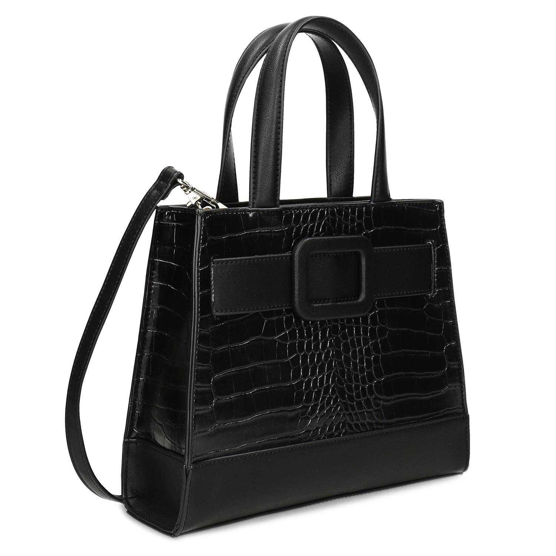 Dámska čierna kabelka so štruktúrou