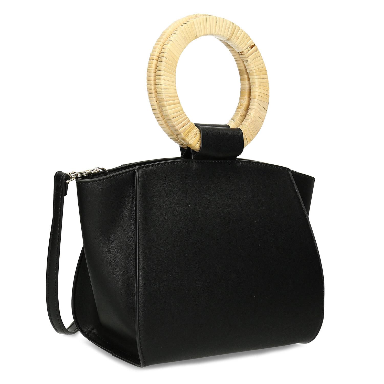 Dámska čierna kabelka s guľatými rúčkami