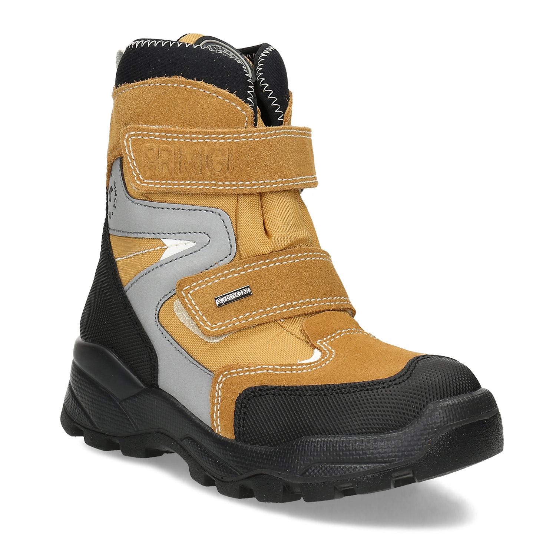 Žltá detská zimná obuv na suché zipsy
