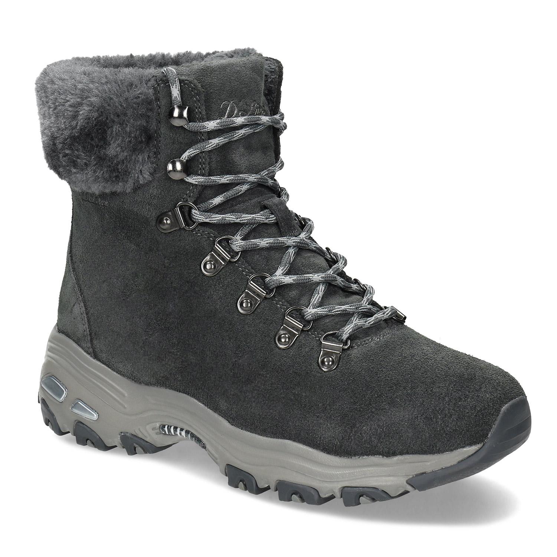 Dámska šedá zimná obuv z brúsenej kože