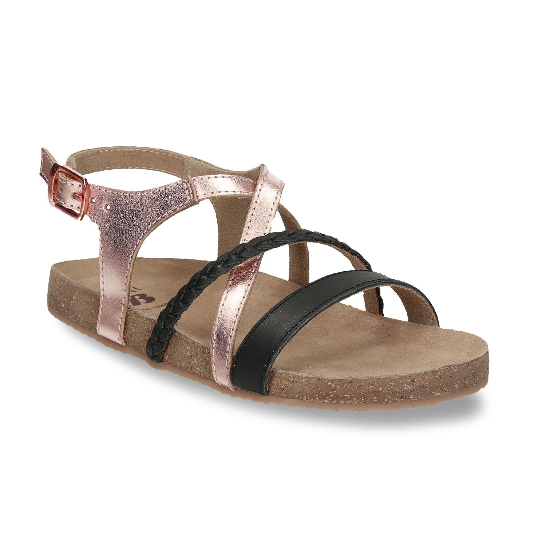 Rose gold sandály s černými pásky Bata.cz